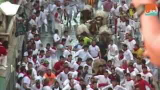 بالفيديو.. انطلاق مهرجان الركض أمام الثيران في إسبانيا