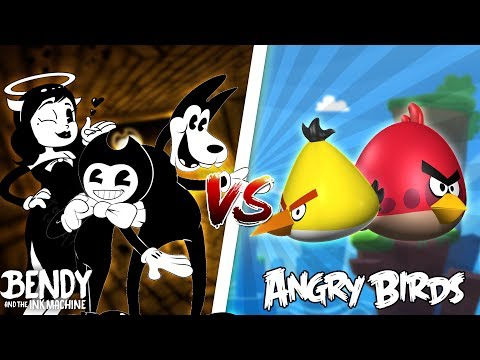 Minecraft ANGRY BIRDS VS BENDY AND THE INK MACHINE!! - ANGRY BIRDS DESTROY BENDY & BORIS INK FACTORY