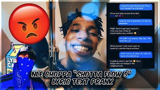 NLE CHOPPA SHOTTA FLOW 5 LYRIC TEXT PRANK ON GANG MEMBER