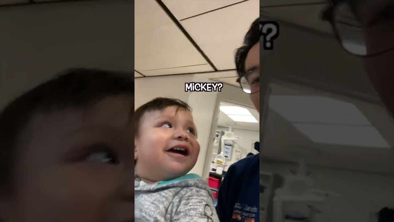 When a 1 year old gets Mickey stickers😆 [Pediatric Dentist]