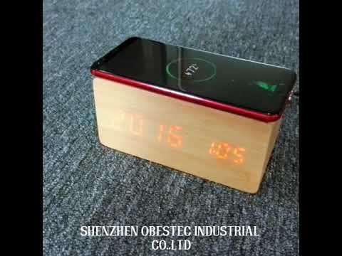 LED Wooden Alarm Clock With QI Wireless Mobile Phone Charger