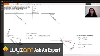 Finding resultant vector and bearing of an airplane with wind.