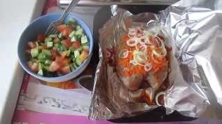 Обед.Кур.грудка под овощной шапкой,салат.