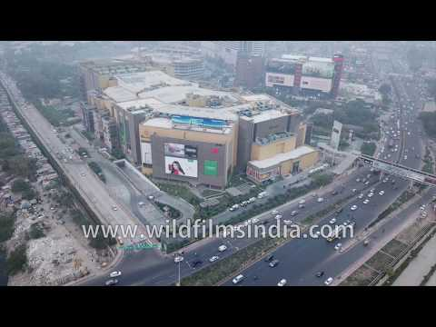 Malls and new developments in Noida city, across the river from Delhi