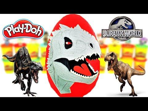 Huevo Sorpresa Gigante de Indominus Rex de Jurassic World 2 Plastilina Play doh Espa帽ol
