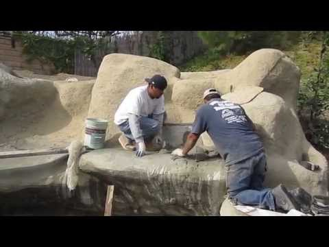 Koi pond construction part 7 - faux/artificial boulders & waterfall texture coat, waterproofing