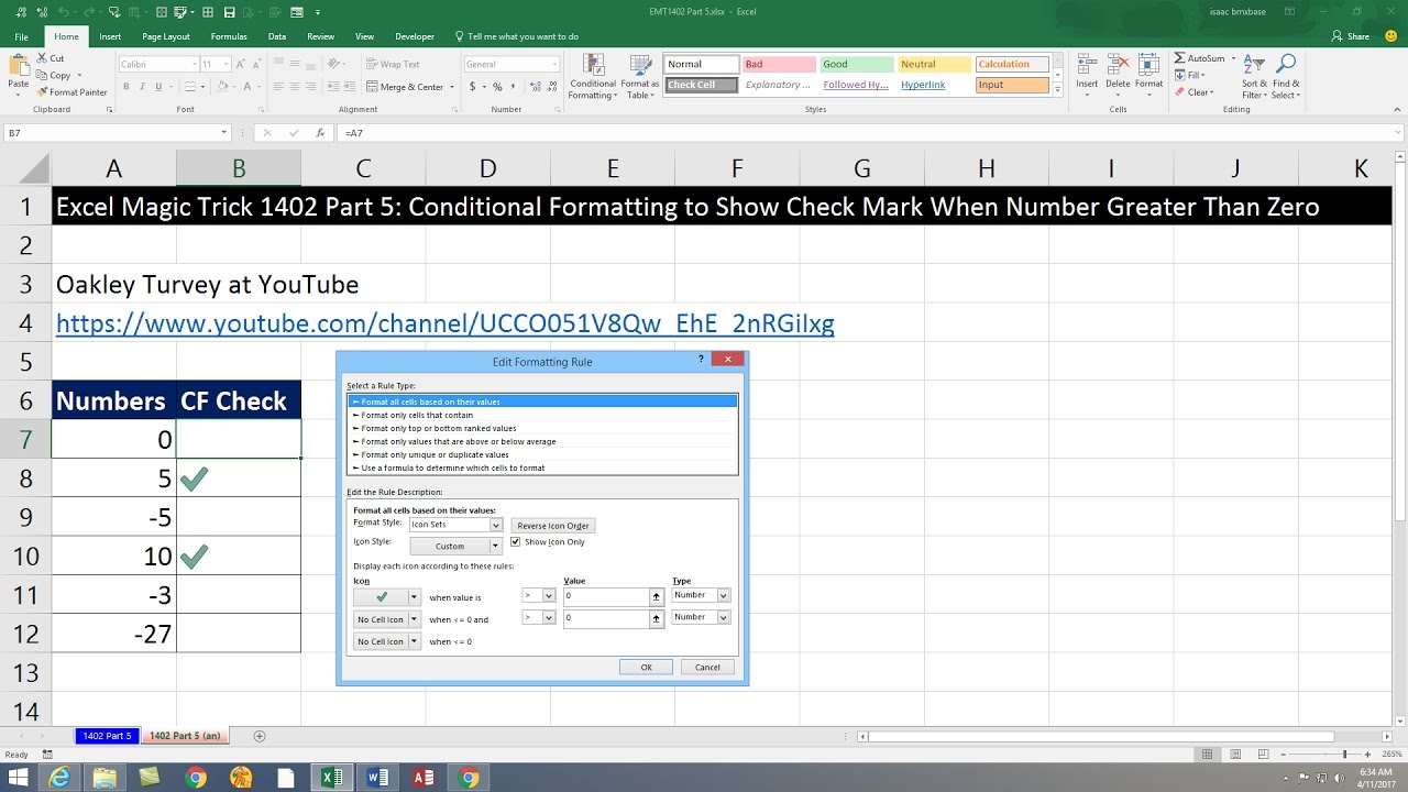 Excel Magic Trick 1402 Part 5 Conditional Formatting To