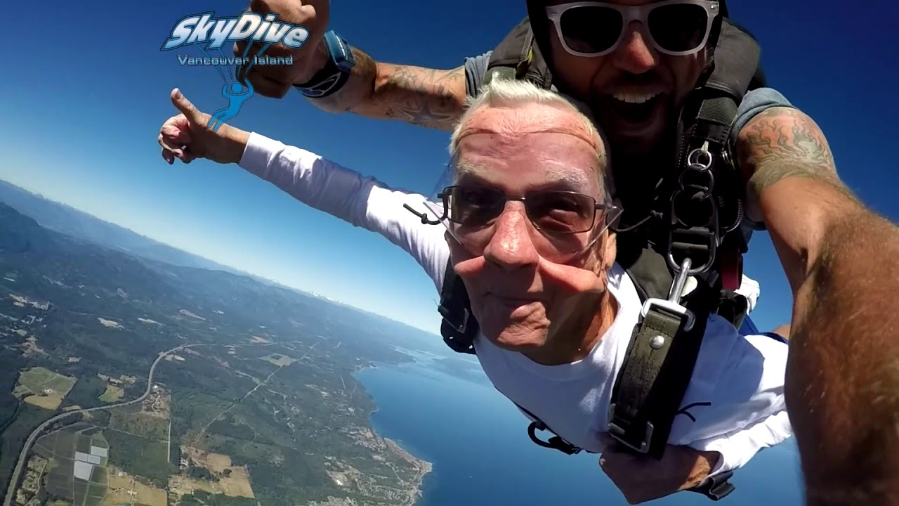 Allan at 85 Years Young Skydiving at Skydive Vancouver Island