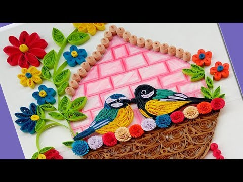 DIY   How to make Beautiful Love Birds Wall Hanging for Home Decoration   Paper Quilling Art