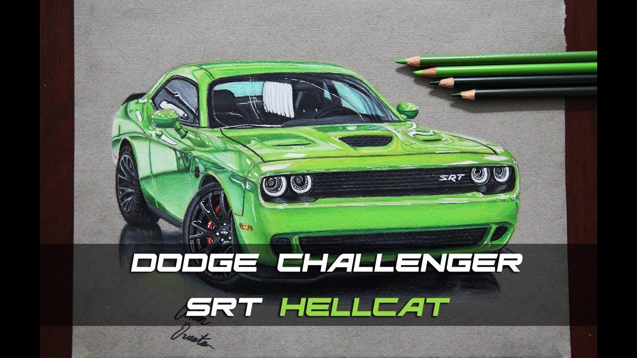dodge challenger srt hellcat izim realistic car drawing. Black Bedroom Furniture Sets. Home Design Ideas