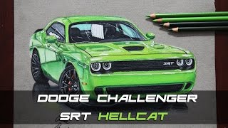Dodge Challenger SRT Hellcat Çizim   Realistic Car Drawing