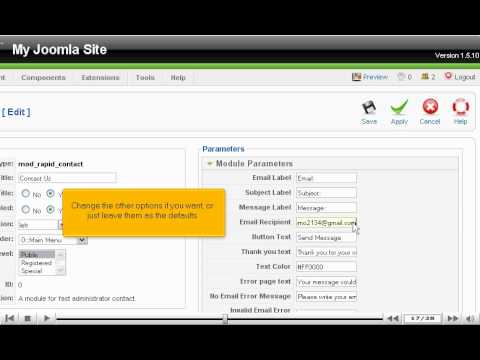 How To Add Contact Forms To Your Joomla Site With Rapid Contact - Joomla Tutorials