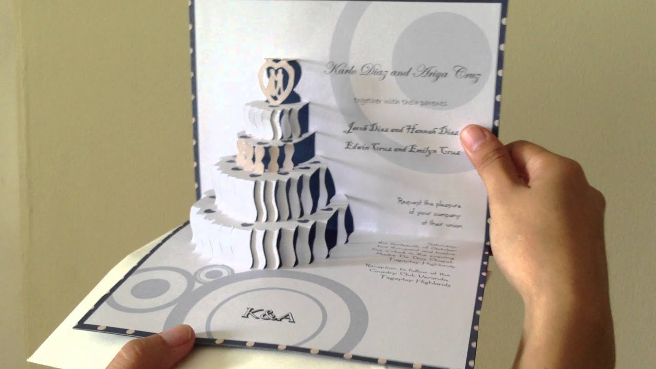 3D Pop Up Wedding Cake Invite YouTube