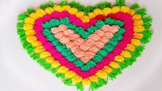 How to make Pom Pom  Rug, Table mat, Carpet, Doormat Home Decor idea