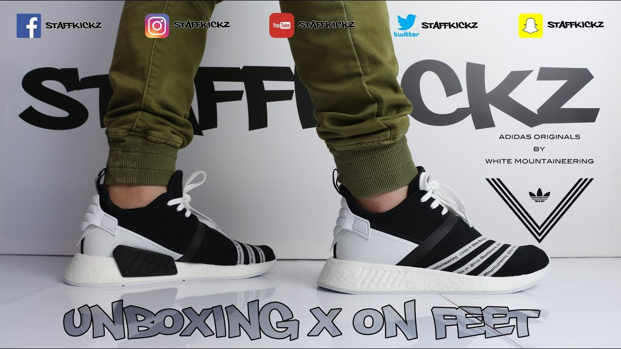 3fca7ec3307f4 White Mountaineering x adidas NMD R2 Black - Unboxing   On Feet ...