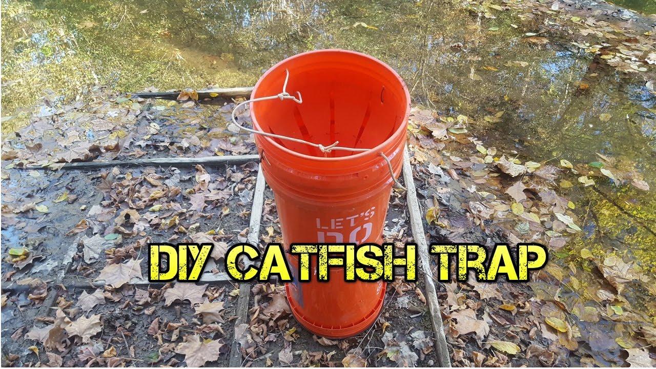Diy homemade five gallon bucket catfish trap throat youtube for Diy fish trap