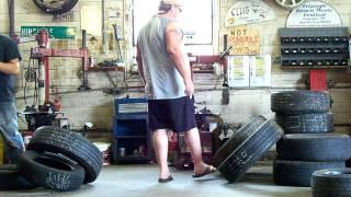 water in tire prank