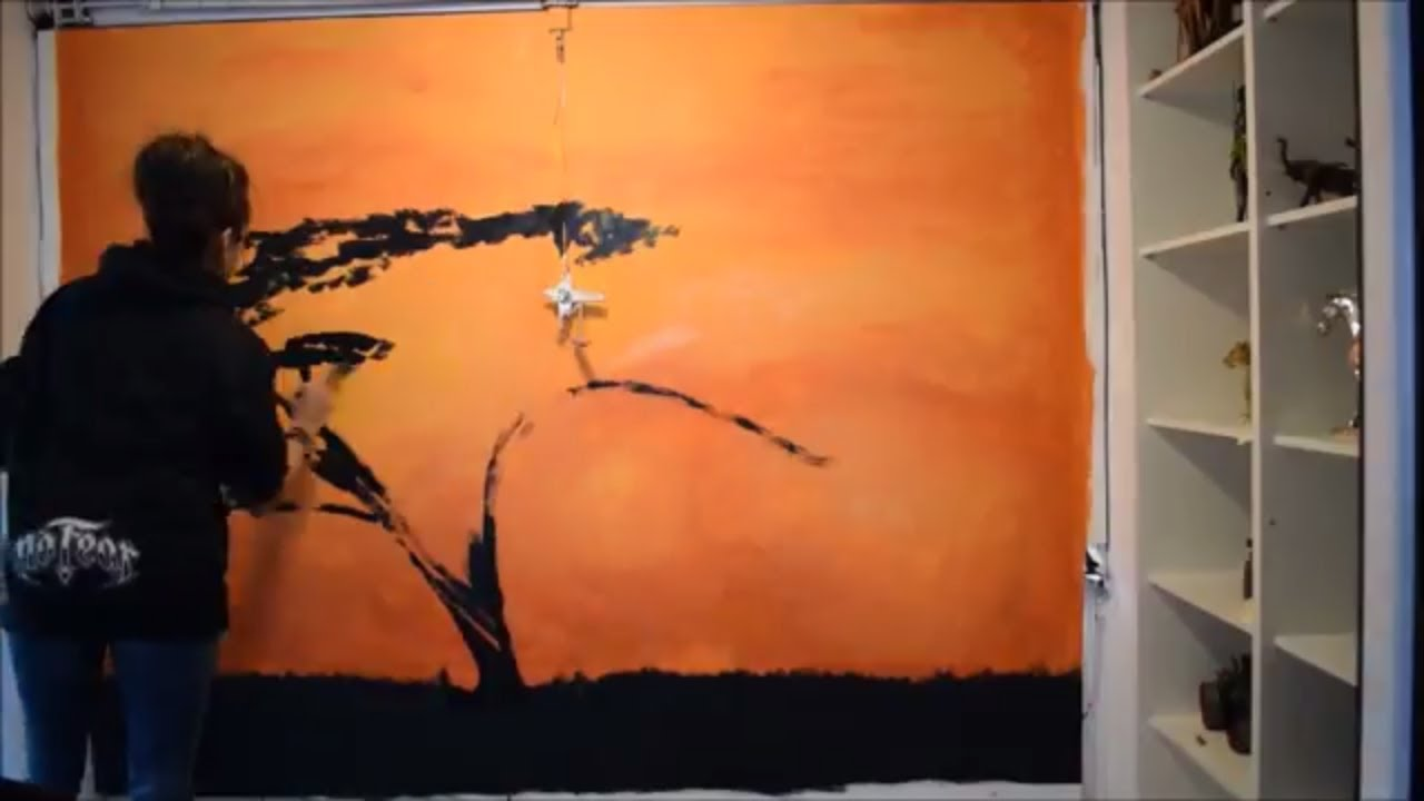 Wall Art How To Paint A Mural Landscape Painting Silhouette Using House Paint Jasvir Kambo