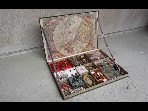 DIY Vintage Jewelry box/organizer from old book Tutorial! Storage ideas, upcycling Smyckeskrin