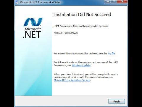 How to Fix HRESULT 0xc8000222 Error.NET Framework 4.0 While Problem Installation
