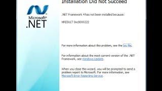 How to fix .Net framework installation error windows 7