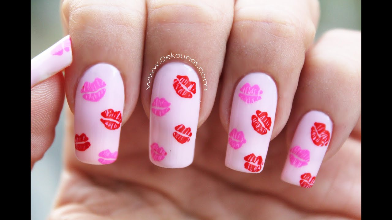 Decoracin de uas besos  kissed nail art  YouTube