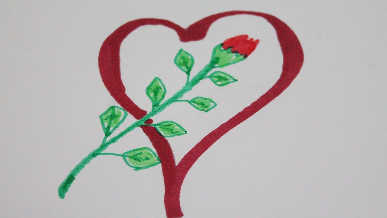 Worksheet. Dibujos de corazones con rosas  YouTube