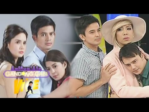 Vice Ganda does Two Wives pose with Jason & Patrick