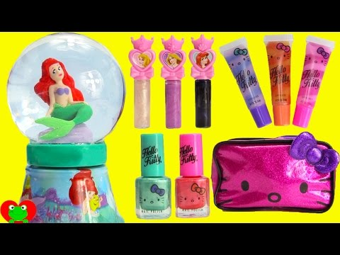Disney Princess Ariel Bubble Bath Glitter Globe Nail Polish and Lip Balms