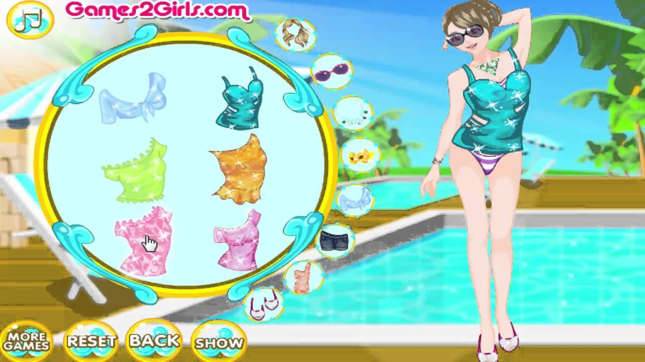 Dress Up Games ▻ Emily\'s Pool Party dress up game for kids - YouTube