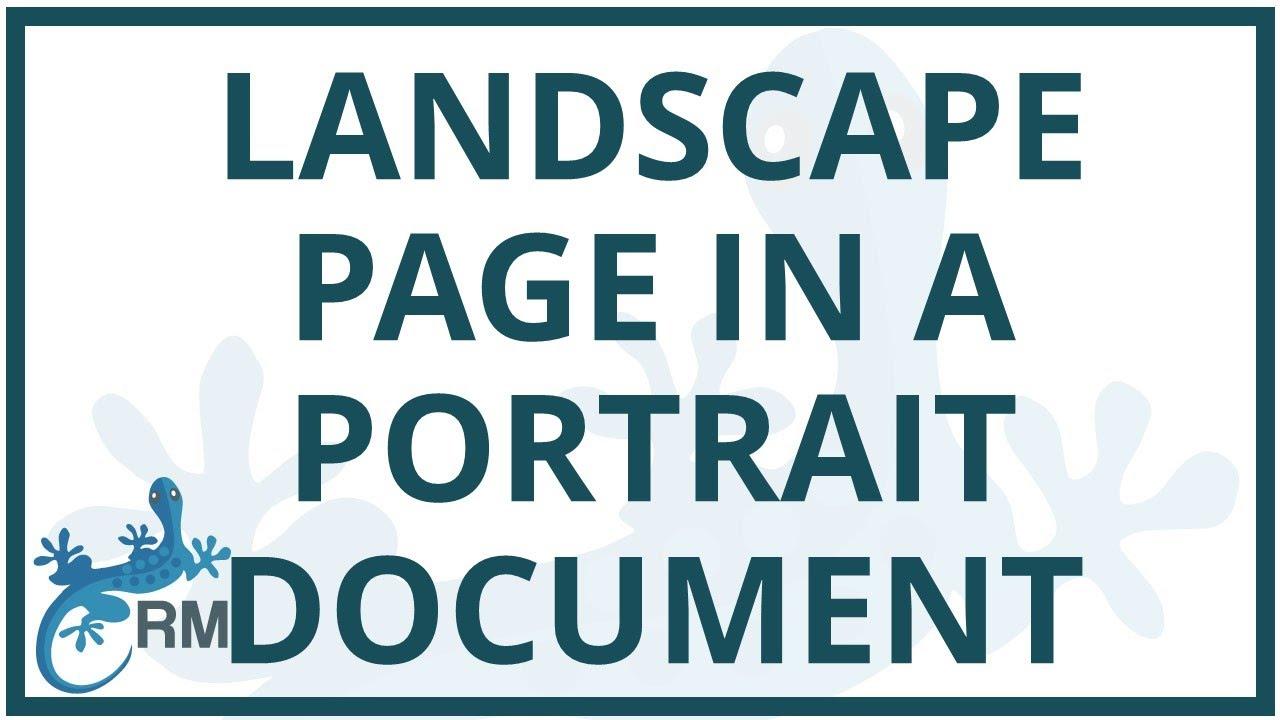 word add landscape layout