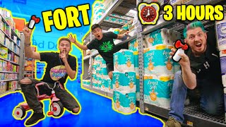 Last To Leave Walmart Fort WINS! (ft. MoreJSTU) - Challenge