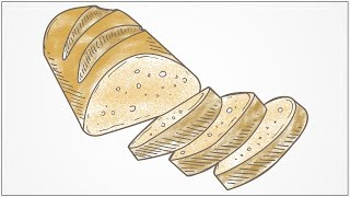 how to draw bread step by step