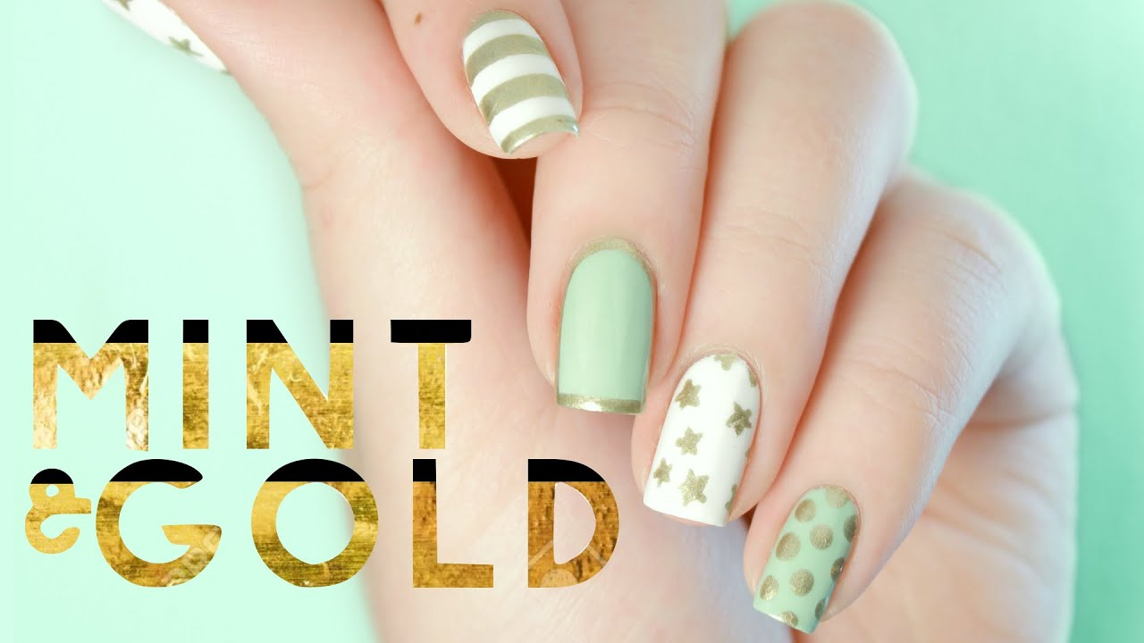 Mint & Gold Nail Art | Inspired by Target Sugar Paper Holiday Gift ...