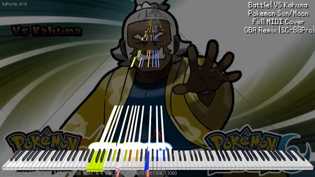 【MIDI DL】Pokemon Sun/Moon - Battle! VS Kahuna - GBA-Style Remaster | Full  MIDI Cover (SC-88Pro)