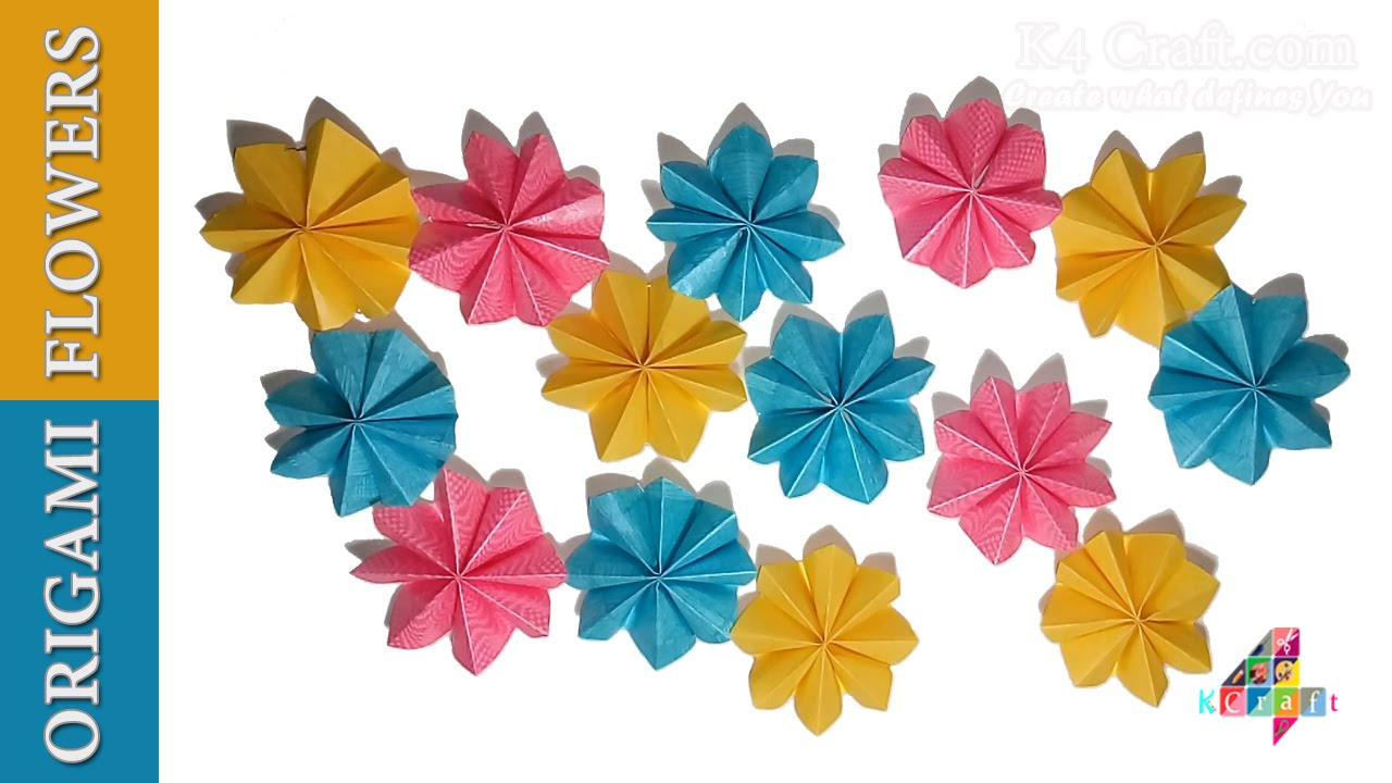 DIY: Simple Origami Paper Flowers (Easy) - Wall / Home ...