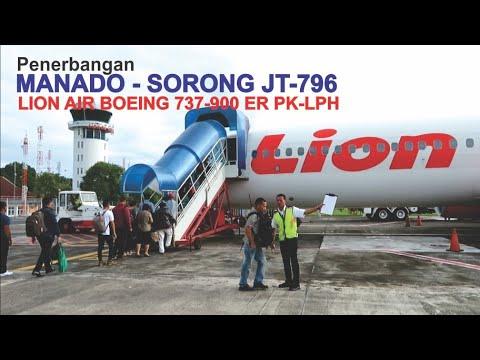 Terbang Bersama Pesawat lion Air Rutye Manado - Sorong JT796 Boeing 737-900ER PK-LPH, Landing Sorong