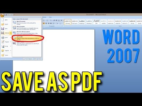 How to Save a document As PDF (MS Word 2007)