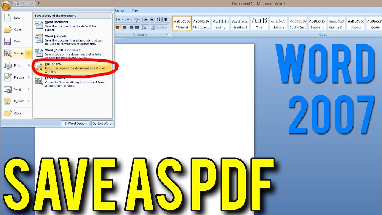 Save As Pdf For Word 2007