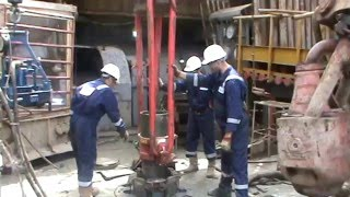 Power Tong Guys Running Casing Tool on the Oil & Gas Drilling Rig  - Part 02