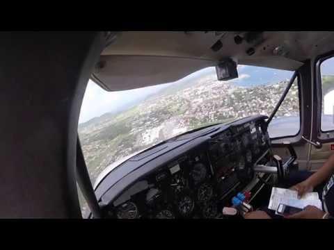 LANDING IN SKB (ST KITTS)! PA23-250