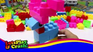 WOW! Lets Play And Crash -  Building A Deer, Animals Playing Blocks