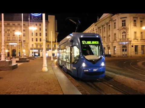 Croatia / Zagreb - Tram Traffic before Midnight (a lot of traffic)