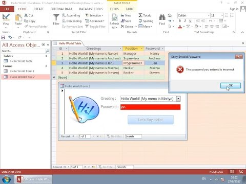 How to write your first VBA Program in Access - Hello World!