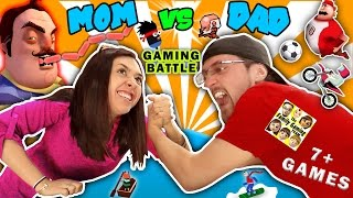 FGTEEV MOM vs DAD GAMING CHALLENGE!  Hello Neighbor Sausage Eater? 7+ iOS App Games Parents Battle 2017 Video