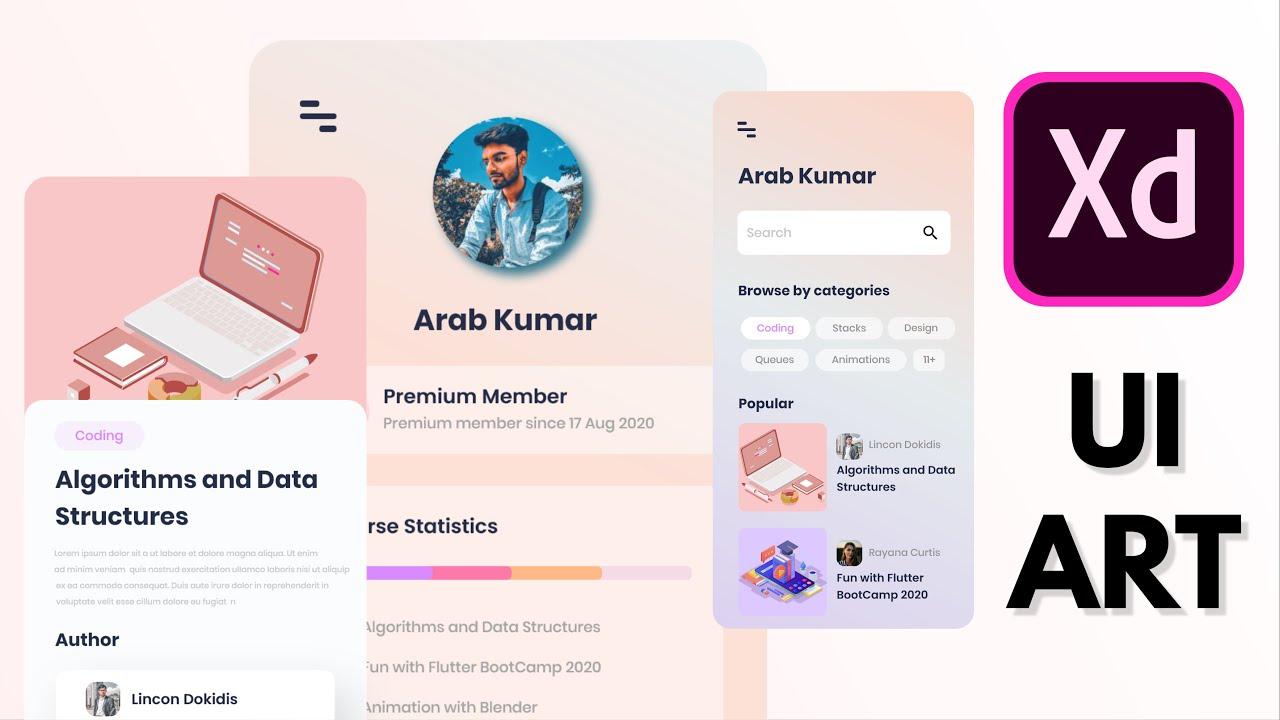 Online Course App UI Design in Adobe XD | SpeedArt | Simple | Clean | UI