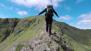 Solo wild camping uk. Helvellyn via Striding Edge, Swirral Edge and Lake District wild camping.