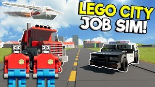HOW TO GET A JOB IN LEGO CITY! - Brick Rigs Roleplay Gameplay - Lego Police, Tow Truck, & Pilot