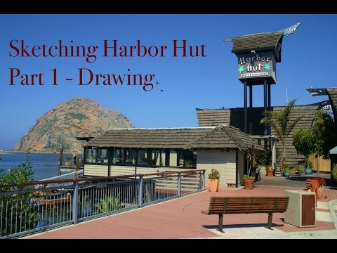 How to Sketch a Building in Watercolour Watercolor Harbor Hut Restaurant California