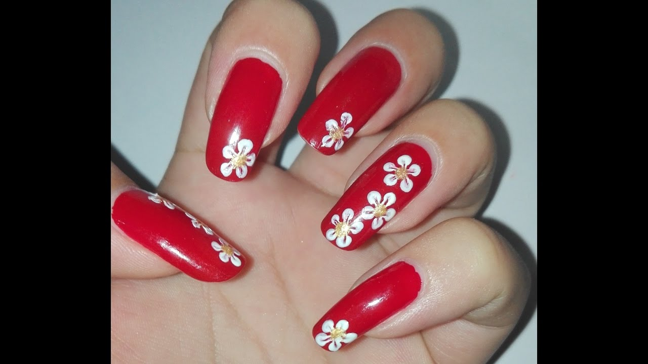 Easy Red And White DIY Flower Nail Art Tutorial No Tools Design